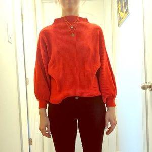 Anthropologie red full sleeve sweater